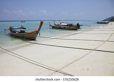 Thailand. Boat on the sandy shore. Islands in Krabi province are covered with fine white sand, this is a great place for rest and relaxation.