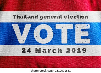 Thailand Canvas flag with text of Thailand general election , Presidential Election Vote on  24 March 2019 concept promote campaign
