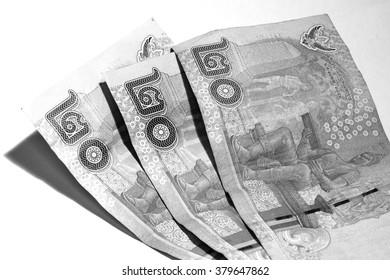 Thailand cash each leaf twenty baht three leaf / white and black style