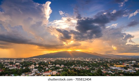 THAILAND, CHIANG MAI - AUG 27, 2017: Beautiful cityscape sunset and sky over Chiang Mai in Thailand.