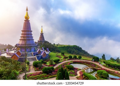 Thailand Chiang Mai, Doi Inthanon  Buddhist stupa landmark tourism of north Thailand. Beautiful landscapes aerial view.