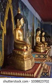 Thailand, Chiang Mai, Phra Thart doi suthep temple (Wat Phra Thart Doi Suthep), golden Buddha statues