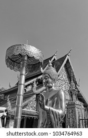 Thailand, Chiang Mai, Prathat Doi Suthep temple (Wat Prathat Doi Suthep), golden Buddha statue