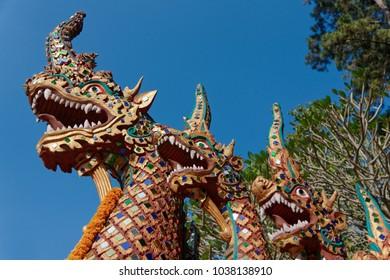 Thailand, Chiang Mai, Prathat Doi Suthep temple (Wat Prathat Doi Suthep), dragon statues