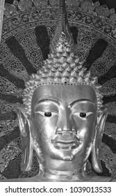 Thailand, Chiang Mai, Prathat Doi Suthep Buddhist temple, golden Buddha statue