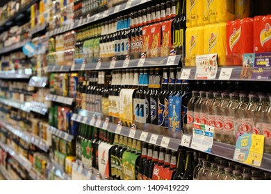 Thailand, Chiang Mai,May 2019 Variety drinks display neatly for sales on shelves at Top supermarket