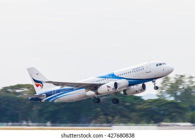 Thailand, Chiangmai airport, May, 28, 2016, Bangkok Airways Airbus A320 taking off