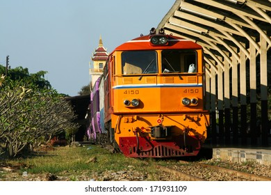 THAILAND / CHIANGMAI - DECEMBER  14  2011:  Alsthom  locomotive no.4150 and Train no.14  to  Bangkok. Photo at chiangmai railway station, thailand.