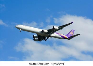 THAILAND / CHIANGMAI - DECEMBER  27 2008: Last of Airbus A340-600 HS-TNF Thaiairway. landing to Chiangmai airport from Bangkok Suvarnabhumi, thailand.
