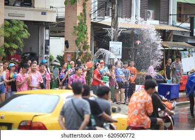 Thailand Chiengrai,13,April,2017,Thai new year Songkran water festival in local of Thailand