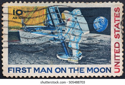 THAILAND - CIRCA 1969: A stamp printed in USA shows Astronaut Neil Armstrong on the Moon, circa 1969