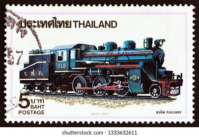 """THAILAND - CIRCA 1990: A stamp printed in Thailand from the """"Steam Locomotives"""" issue shows Class C 56 locomotive No. 715, Japan, circa 1990."""