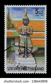 "THAILAND - CIRCA 2001: A postage printed in Thailand show image of Wirunchambang from the series ""Demons"" in the epic Ramayana, circa  2001"