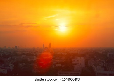 Thailand city view in heatwave summer season high temperature from global warming effect