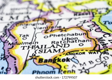 thailand close up on map, asia country.
