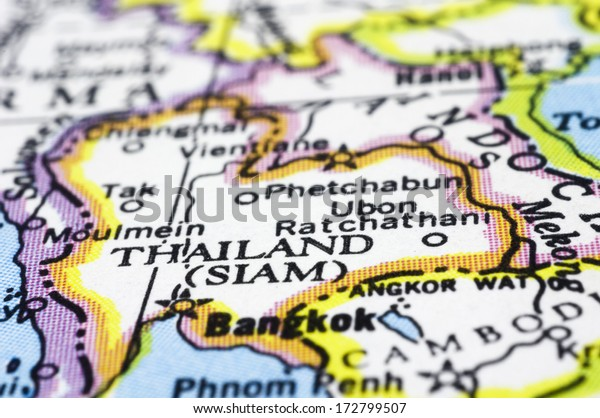 Thailand Close On Map Asia Country Stock Photo (Edit Now) 172799507