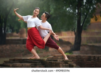 Thailand dance rehearsal at the ancient temples of Thailand.