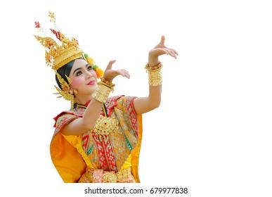 Thailand Dancing in masked khon Benjakai in literature Ramayana,Thailand