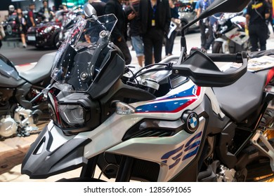 Thailand - Dec , 2018 : close up headlight of BMW F750 GS supersports motorbike presented in motor expo Nonthaburi Thailand .