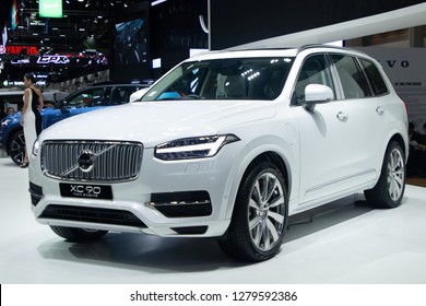 Thailand - Dec , 2018 : volvo xc 90 twin engine white color luxulry car presented in motor expo Nonthaburi Thailand