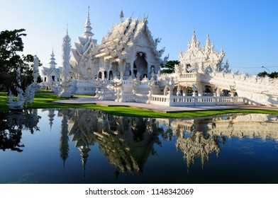Thailand - December 03, 2015 : Beautiful white temple in Chiang Rai province. Northern Thailand. white temple is a contemporary unconventional Buddhist temple.