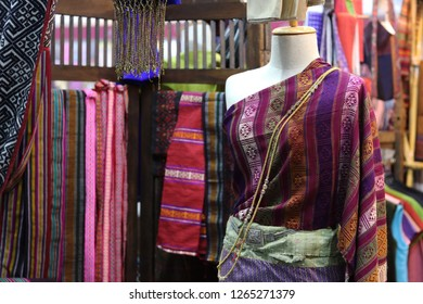 Thailand - December 2018 : Thai traditional costumes for sale in OTOP  fair 2018 at IMPACT exhibition center,Nonthaburi.The fair aiming to improve quality of goods and marketing opportunities.