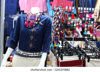 Thailand - December 2018 : Thai traditional costumes for sale in OTOP  fair 2018 at IMPACT exhibition center,Nonthaburi.The fair aiming to improve quality of goods and marketing opportunities