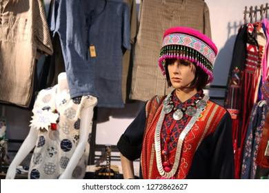Thailand - December 2018 : Traditional costume of ethnic group in Thailand for show in OTOP fair 2018 at IMPACT exhibition center,Nonthaburi.The fair aiming to improve quality of goods and marketing.