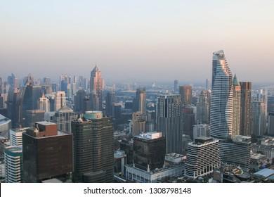 THAILAND - December 23, 2017 : Arial view Bangkok city downtown during sunset.