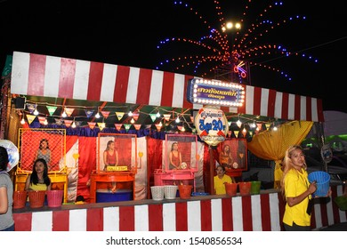 Thailand Dunk tank girel bautiful light temple fair at Wat Phra Samut Chedi at Samut Prakan province Thailand 2019 October 18