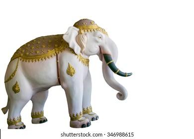 Thailand elephant statue isolated on white background