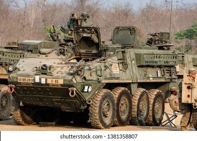 Thailand - February 2019 :  M1126 Stryker ICV U.S Army during  Exercise Cobra Gold 2019 at Ban Dan Lan Hoi Kingdom of Thailand