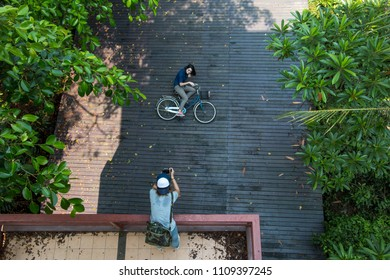 THAILAND - February 25, 2018 : Travelers people taking pictures and biking bicycle in Sri Nakhon Khuean Khan Park and Botanical Garden or khung bang kachao park in Samut Prakan, Thailand.