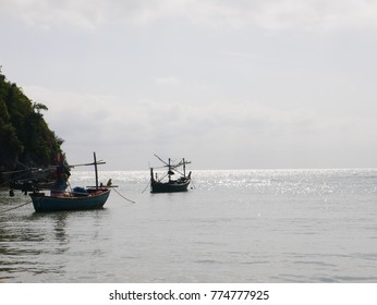 thailand fisherman boat sea background