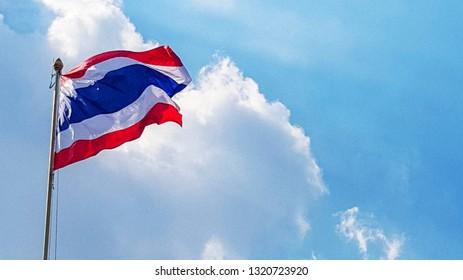 Thailand flag on blue sky and clound.
