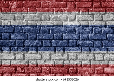 Thailand Flag Painted on brick wall