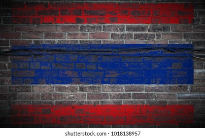 Thailand flag painted on old_brick_wall_with_wires texture background