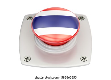 Thailand flag push button, 3D rendering