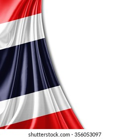 Thailand  flag of silk with copyspace for your text or images and white background