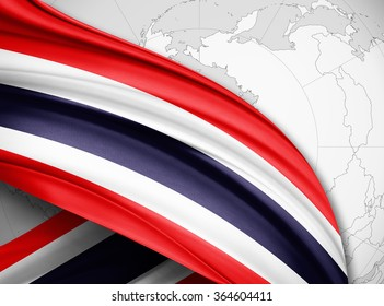 Thailand flag of silk with copyspace for your text or images and world map background