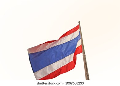 Thailand flag with a sun light shining down with isolated white background.
