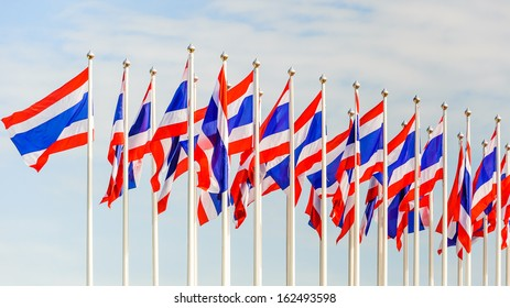Thailand flags on blusky background