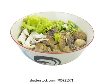 thailand food, Asian noodles with vegetables isolated in white background.