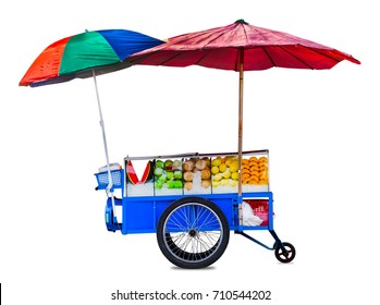 Thailand Fruit Cart, Fruit selling car, street food thailand, isolated on white background