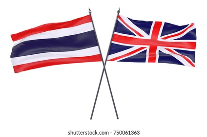 Thailand and Great Britain, two crossed flags isolated on white background. 3d image