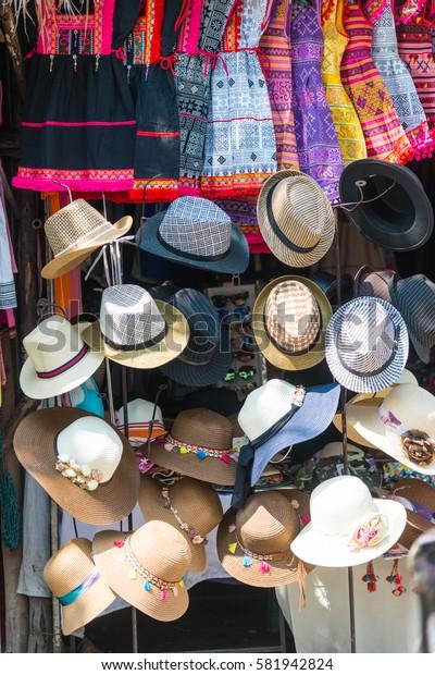 Thailand hats on sale at the tourist market.