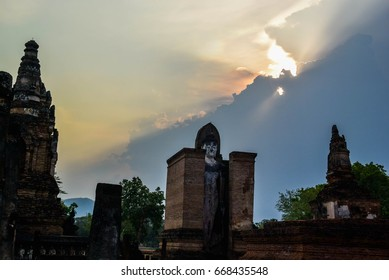 Thailand historical old temple with sunset sky