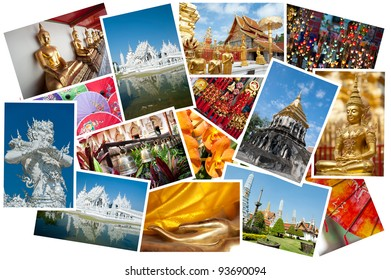 Thailand images displayed as a postcard montage