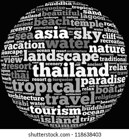 Thailand info-text graphics and arrangement concept on white background (word cloud)