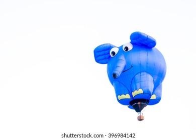 THAILAND INTERNATIONAL BALLOON FESTIVAL,4-5 MARCH 2016 AT PAYAP UNIVERSITY CHIANGMAI,Blue elephant model balloon on the sky( 05 March 2016)